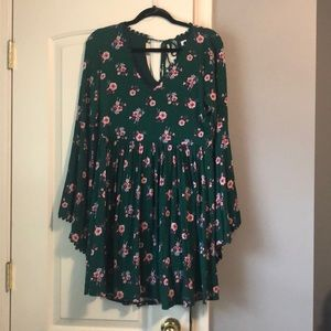 Green and pink flower child minidress by Bongo